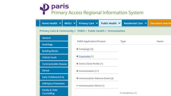 PARIS User Guide for Immunizations